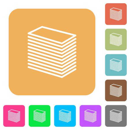 Paper stack flat icons on rounded square vivid color backgrounds.