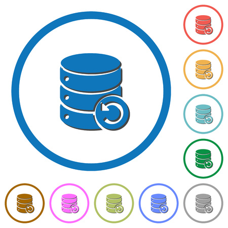 to commit: Undo database changes flat color vector icons with shadows in round outlines on white background Illustration