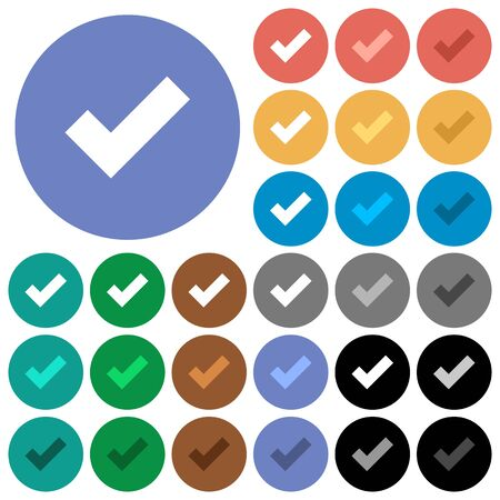 checked: Ok multi colored flat icons on round backgrounds. Included white, light and dark icon variations for hover and active status effects, and bonus shades on black backgounds. Illustration