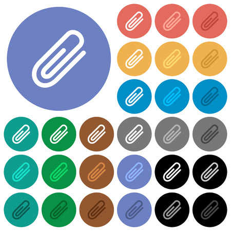 Attachment multi colored flat icons on round backgrounds. Included white, light and dark icon variations for hover and active status effects, and bonus shades on black backgounds.