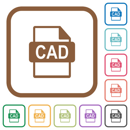 CAD file format simple icons in color rounded square frames on white background