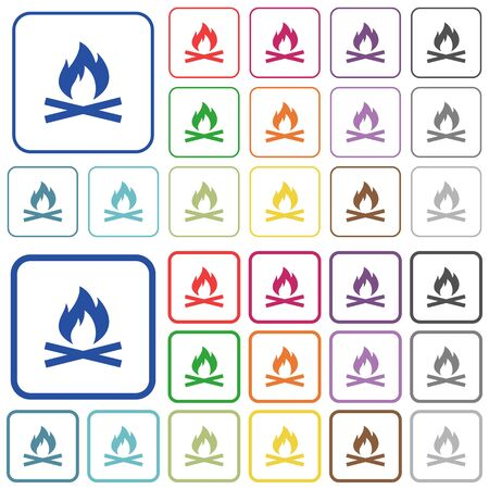 ember: Camp fire color flat icons in rounded square frames. Thin and thick versions included.