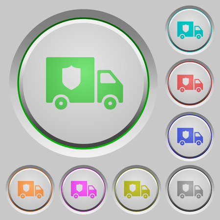Money deliverer truck color icons on sunk push buttons