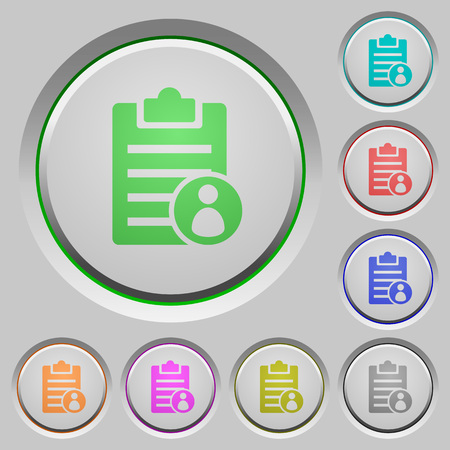 writing pad: Note owner color icons on sunk push buttons Illustration