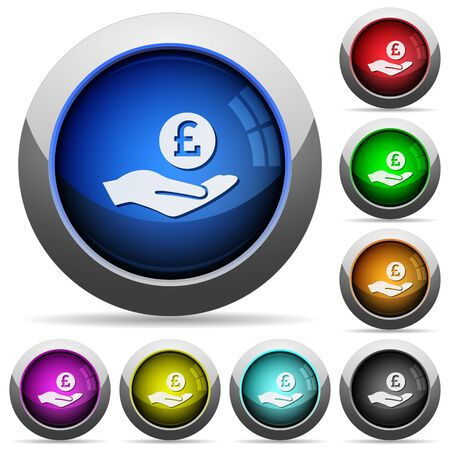 ganancias: Pound earnings icons in round glossy buttons with steel frames