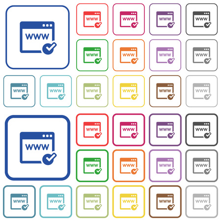 Domain registration color flat icons in rounded square frames. Thin and thick versions included.