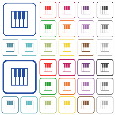 tact: Piano keyboard color flat icons in rounded square frames. Thin and thick versions included.