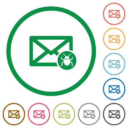 unsolicited: Spam mail flat color icons in round outlines on white background Illustration