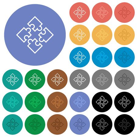 Puzzle pieces multi colored flat icons on round backgrounds. Included white, light and dark icon variations for hover and active status effects, and bonus shades on black backgounds. Illustration