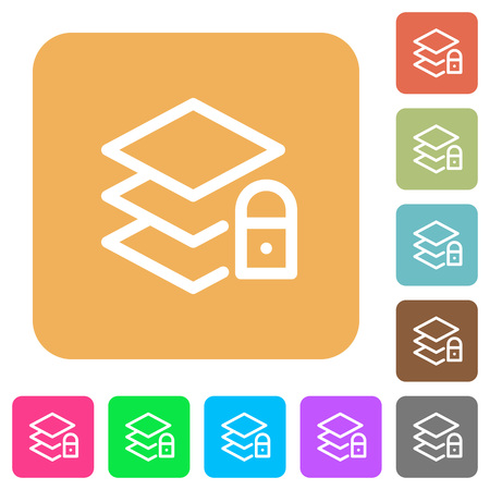 unaccessible: Locked layers flat icons on rounded square vivid color backgrounds. Illustration