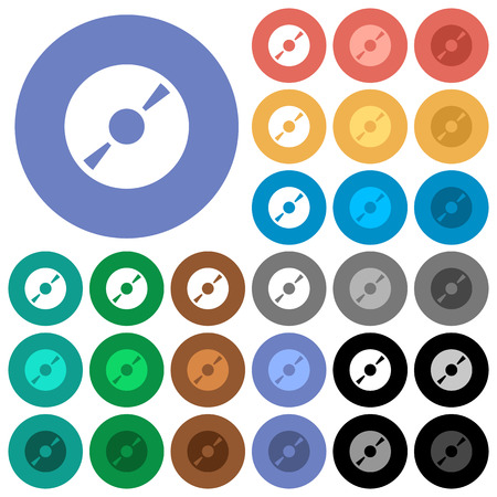 DVD disk multi colored flat icons on round backgrounds. Included white, light and dark icon variations for hover and active status effects, and bonus shades on black backgounds.
