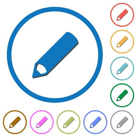 modify: Pencil flat color vector icons with shadows in round outlines on white background