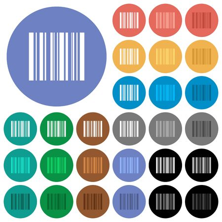 Barcode multi colored flat icons on round backgrounds. Included white, light and dark icon variations for hover and active status effects, and bonus shades on black backgounds. Illustration