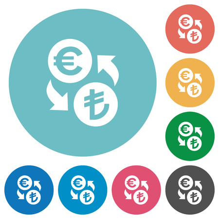 lira: Euro Lira money exchange flat white icons on round color backgrounds