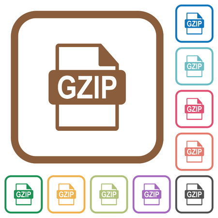 datasets: GZIP file format simple icons in color rounded square frames on white background