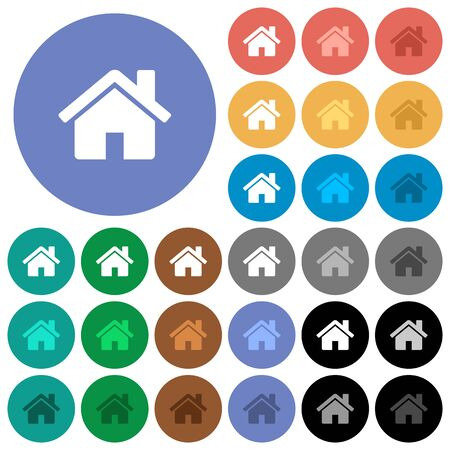 Home multi colored flat icons on round backgrounds. Included white, light and dark icon variations for hover and active status effects, and bonus shades on black backgounds. Illustration