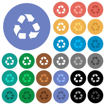 conservationist: Recycling multi colored flat icons on round backgrounds. Included white, light and dark icon variations for hover and active status effects, and bonus shades on black backgounds.