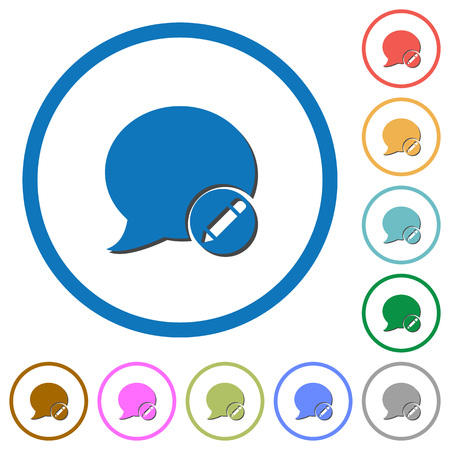 modify: Moderate blog comment flat color vector icons with shadows in round outlines on white background Vectores