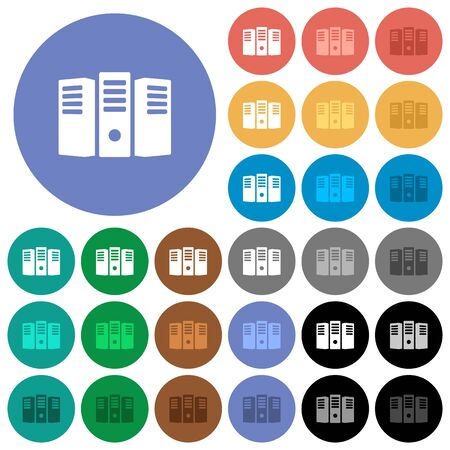 webserver: Server hosting multi colored flat icons on round backgrounds. Included white, light and dark icon variations for hover and active status effects, and bonus shades on black backgounds. Illustration