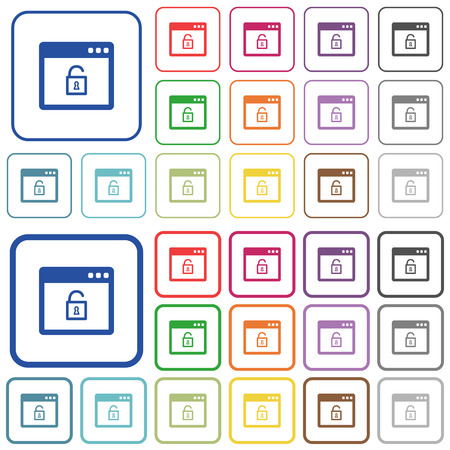 Unlock application color flat icons in rounded square frames. Thin and thick versions included. Illustration