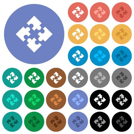 Modules multi colored flat icons on round backgrounds. Included white, light and dark icon variations for hover and active status effects, and bonus shades on black backgounds. Illustration