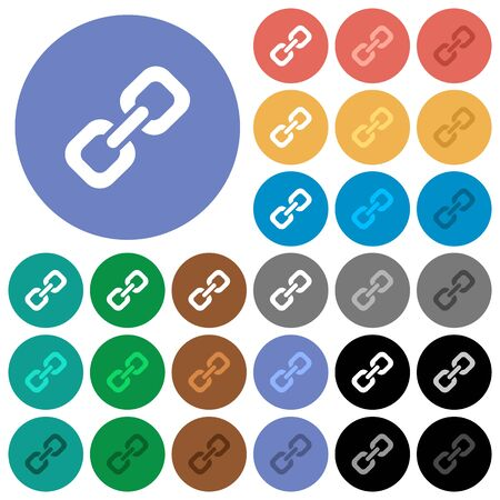 peers: Link multi colored flat icons on round backgrounds. Included white, light and dark icon variations for hover and active status effects, and bonus shades on black backgounds.