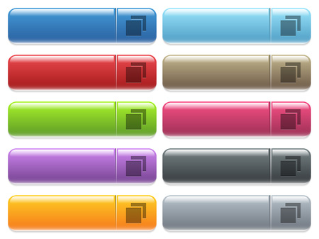 Overlapping elements engraved style icons on long, rectangular, glossy color menu buttons. Available copyspaces for menu captions.