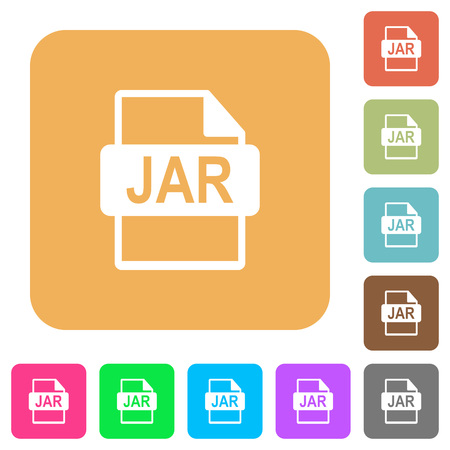 datasets: JAR file format flat icons on rounded square vivid color backgrounds.