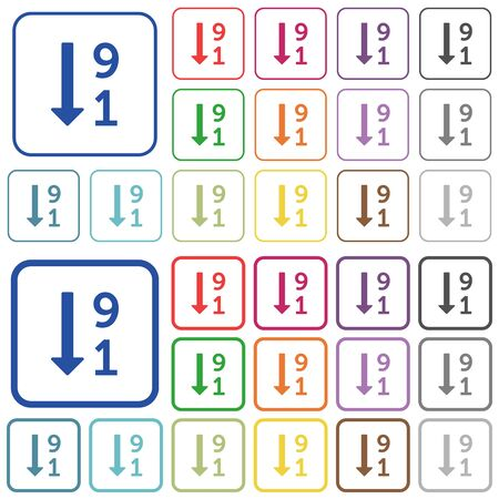 descending: Descending numbered list color flat icons in rounded square frames. Thin and thick versions included.