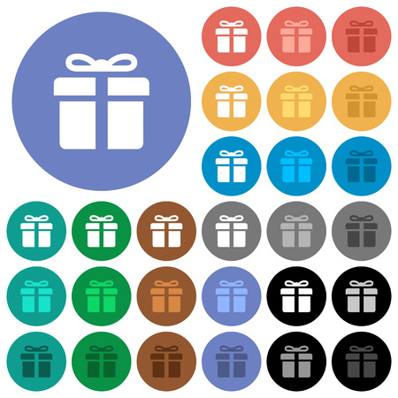 Gift box multi colored flat icons on round backgrounds. Included white, light and dark icon variations for hover and active status effects, and bonus shades on black backgounds. Illustration
