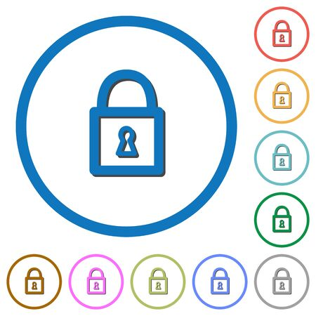 unaccessible: Locked padlock flat color vector icons with shadows in round outlines on white background