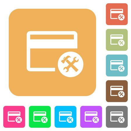 Credit card tools flat icons on rounded square vivid color backgrounds.