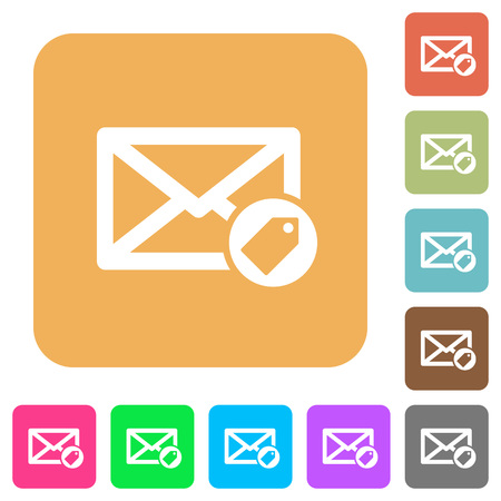 Tagging mail flat icons on rounded square vivid color backgrounds.