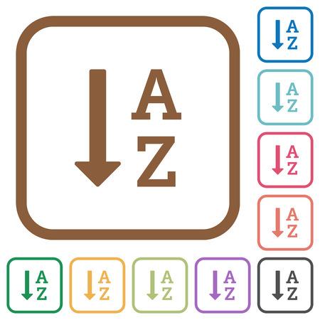 アルファベット順に昇順注文リスト角丸正方形の平らの色でシンプルなアイコン丸みを帯びた白地に正方形のフレーム