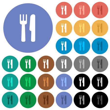 Cutlery multi colored flat icons on round backgrounds. Included white, light and dark icon variations for hover and active status effects, and bonus shades on black backgounds.