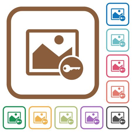 encrypt: Encrypt image simple icons in color rounded square frames on white background Illustration