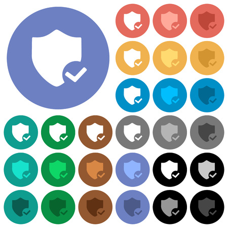 Protection ok multi colored flat icons on round backgrounds. Included white, light and dark icon variations for hover and active status effects, and bonus shades on black backgounds.