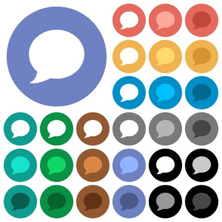 Blog comment bubble multi colored flat icons on round backgrounds. Illustration