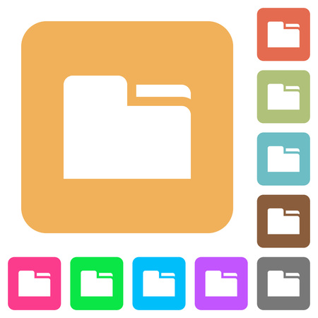 Tab folder flat icons on rounded square vivid color backgrounds.