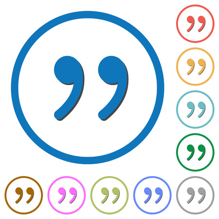 Quotation mark flat color vector icons with shadows in round outlines on white background