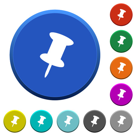Push pin round color beveled buttons with smooth surfaces and flat white icons