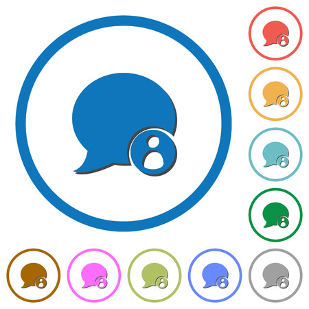 Blog comment sender flat color vector icons with shadows in round outlines on white background