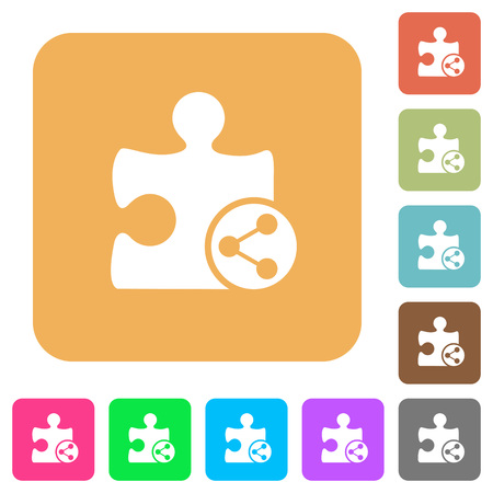 puzzle corners: Share plugin flat icons on rounded square vivid color backgrounds.