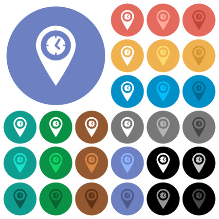 elapsed: Arrival time GPS map location multi colored flat icons on round backgrounds. Included white, light and dark icon variations for hover and active status effects, and bonus shades on black backgounds. Illustration