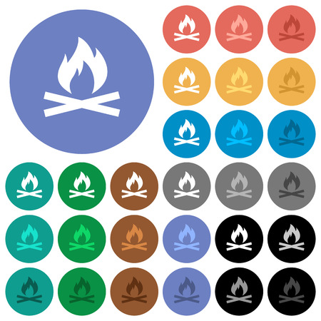 ember: Camp fire multi colored flat icons on round backgrounds. Included white, light and dark icon variations for hover and active status effects, and bonus shades on black backgounds. Illustration