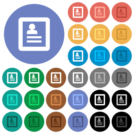 datasheet: User profile multi colored flat icons on round backgrounds. Included white, light and dark icon variations for hover and active status effects, and bonus shades on black backgounds.
