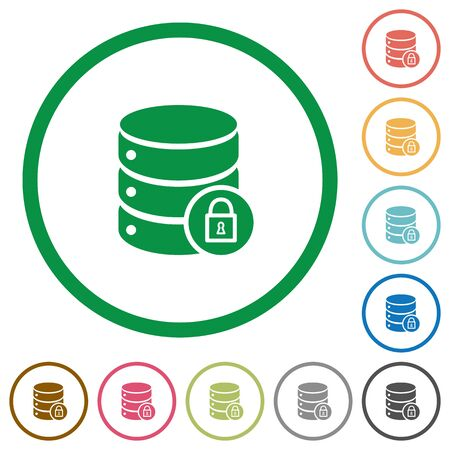 unaccessible: Database lock flat color icons in round outlines on white background Illustration