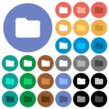 Single folder multi colored flat icons on round backgrounds. Included white, light and dark icon variations for hover and active status effects, and bonus shades on black backgounds.