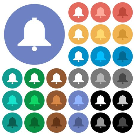 Bell multi colored flat icons on round backgrounds. Included white, light and dark icon variations for hover and active status effects, and bonus shades on black backgounds.