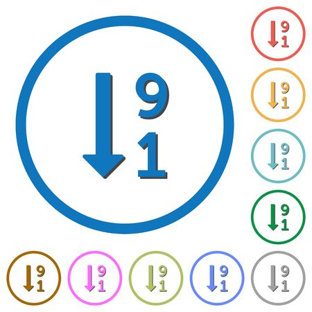 descending: Descending numbered list flat color vector icons with shadows in round outlines on white background Illustration